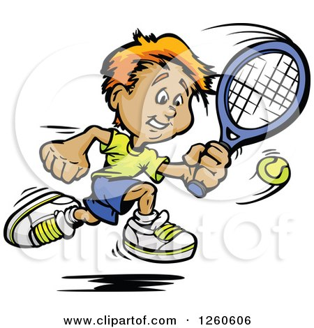 Clipart of a Happy Sporty White Boy Swinging at a Tennis Ball - Royalty Free Vector Illustration by Chromaco