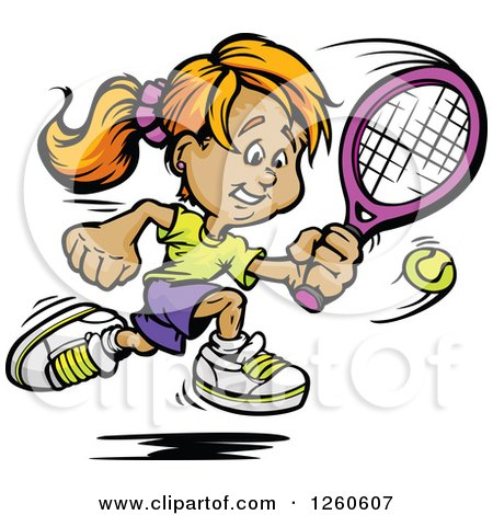Clipart of a Happy Sporty White Girl Swinging at a Tennis Ball - Royalty Free Vector Illustration by Chromaco