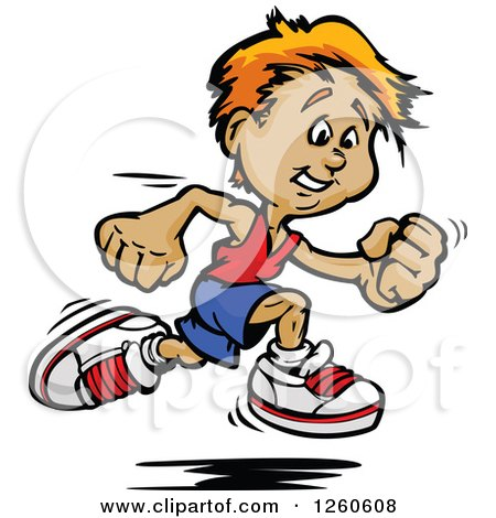 Clipart of a Sporty White Boy Sprinting - Royalty Free Vector Illustration by Chromaco