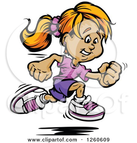 Clipart of a Sporty White Girl Sprinting - Royalty Free Vector Illustration by Chromaco