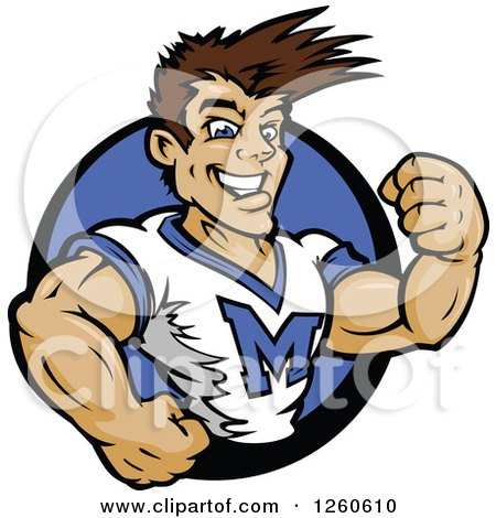 Clipart of a Buff Male Cheerleader in a Blue Circle - Royalty Free Vector Illustration by Chromaco