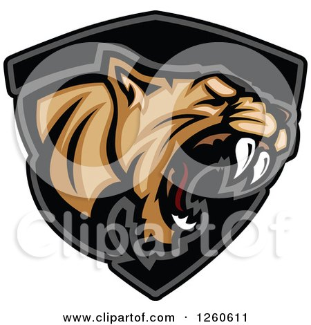 Clipart of a Roaring Aggressive Cougar Mascot over a Black Shield - Royalty Free Vector Illustration by Chromaco