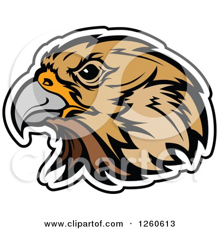 Clipart of a Falcon Mascot Head Outlined in White - Royalty Free Vector Illustration by Chromaco