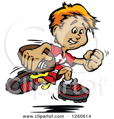 Clipart Of A Happy Sporty White Boy Running With A Football Royalty Free Vector Illustration
