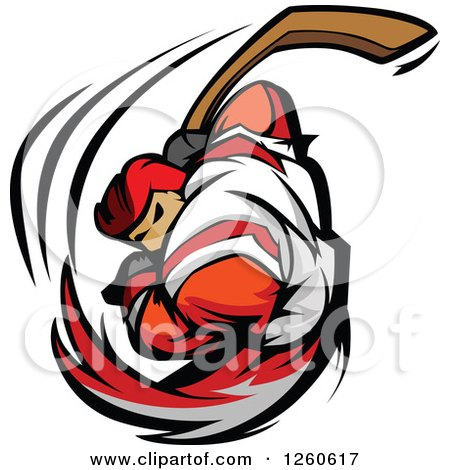 Clipart of a Buff Male Hockey Player Swinging a Stick - Royalty Free Vector Illustration by Chromaco