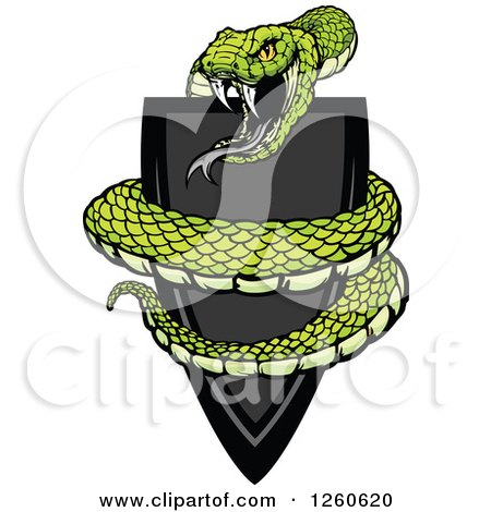 Clipart of a Vicious Green Snake Coiled Around a Black Shield - Royalty Free Vector Illustration by Chromaco