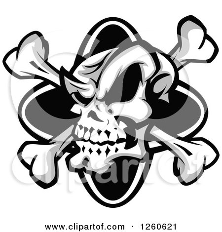 Clipart of a Grinning Grayscale Skull and Crossbones - Royalty Free Vector Illustration by Chromaco
