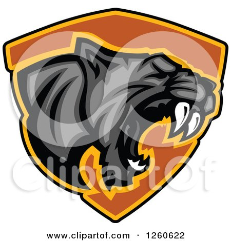 Clipart of a Roaring Aggressive Black Panther Mascot over a Black Shield - Royalty Free Vector Illustration by Chromaco