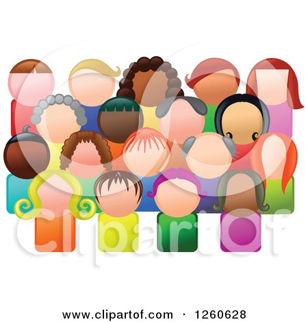 Clipart of a Crowd of Diverse People in a Community - Royalty Free Vector Illustration by Prawny