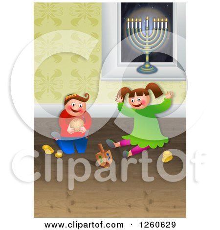 Clipart of a Happy Chanukah Children Playing with Toys and Celebrating the Festival of Hanukkah - Royalty Free Illustration by Prawny