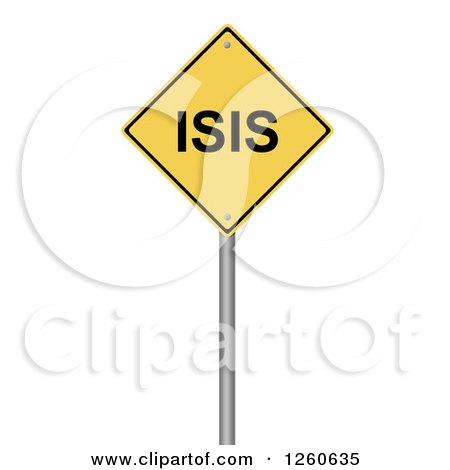 Clipart of a 3d Yellow ISIS Warning Sign - Royalty Free Illustration by oboy