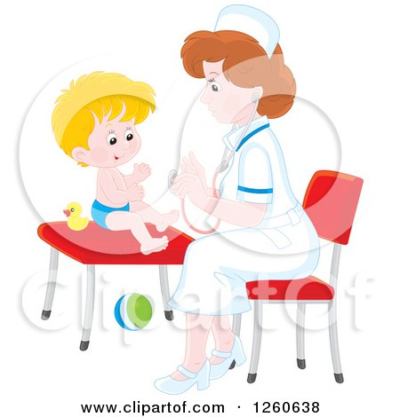 Clipart of a White Female Nurse Tending to a Toddler Boy - Royalty Free Vector Illustration by Alex Bannykh