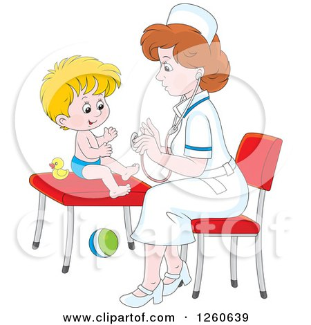 Clipart of a Caucasian Female Nurse Tending to a Toddler Boy - Royalty Free Vector Illustration by Alex Bannykh