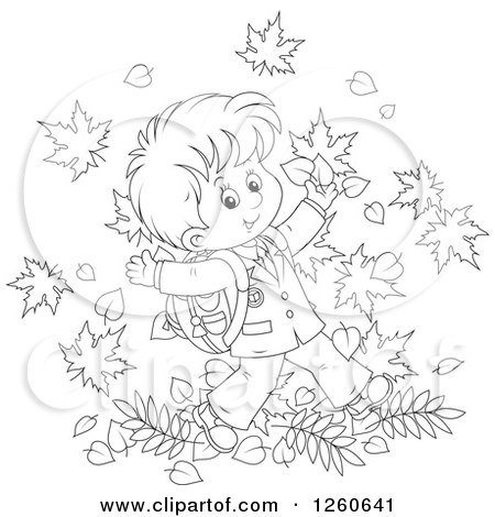 Clipart Of A Black And White Happy School Boy Jumping In Autumn