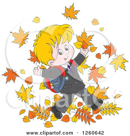 Clipart of a Happy Blond White School Boy Jumping in Autumn Leaves - Royalty Free Vector Illustration by Alex Bannykh