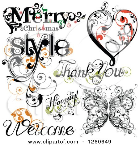 Clipart of Flourish Designs - Royalty Free Vector Illustration by OnFocusMedia