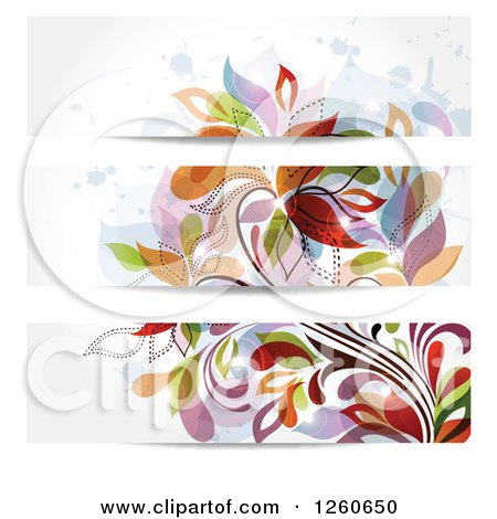 Clipart of Colorful Floral Website Banners - Royalty Free Vector Illustration by OnFocusMedia