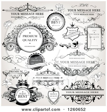Clipart of Quality Labels and Frames on Shading - Royalty Free Vector Illustration by OnFocusMedia
