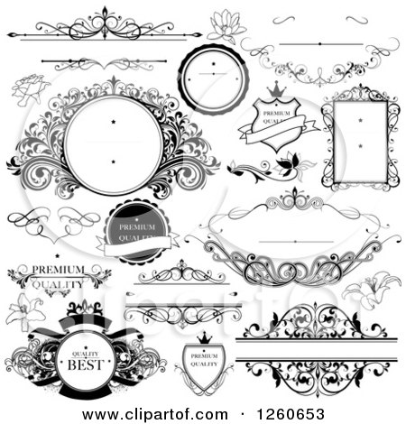 Clipart of Black and White Quality Labels and Frames - Royalty Free Vector Illustration by OnFocusMedia