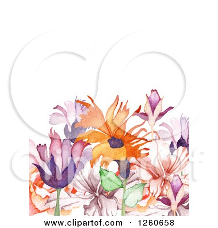 Clipart of a Background of Watercolor Flowers and Text Space - Royalty Free Vector Illustration by OnFocusMedia