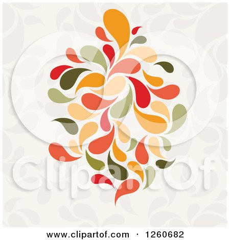 Clipart of a Background of Green and Orange Splashes - Royalty Free Vector Illustration by OnFocusMedia