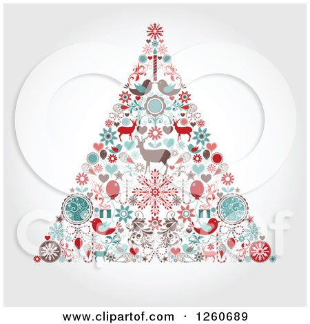 Clipart of a Retro Christmas Tree Made of up Holiday Items on Shading - Royalty Free Vector Illustration by OnFocusMedia