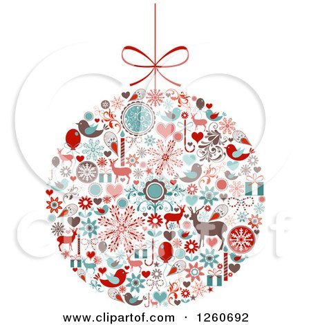 Clipart of a Retro Christmas Bauble of Holiday Items - Royalty Free Vector Illustration by OnFocusMedia