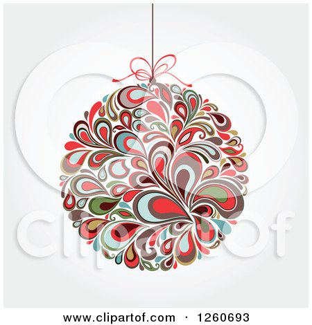 Clipart of a Retro Splash Christmas Bauble on Shading - Royalty Free Vector Illustration by OnFocusMedia