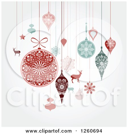 Clipart of Retro Suspended Christmas Baubles and Items on Shading - Royalty Free Vector Illustration by OnFocusMedia