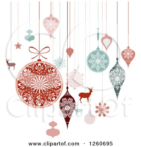 Clipart of Retro Suspended Christmas Baubles and Items - Royalty Free Vector Illustration by OnFocusMedia