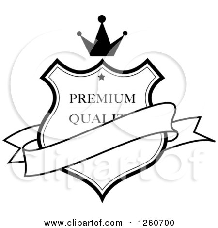 Clipart Of A Black And White Crowned Premium Quality Shield With A