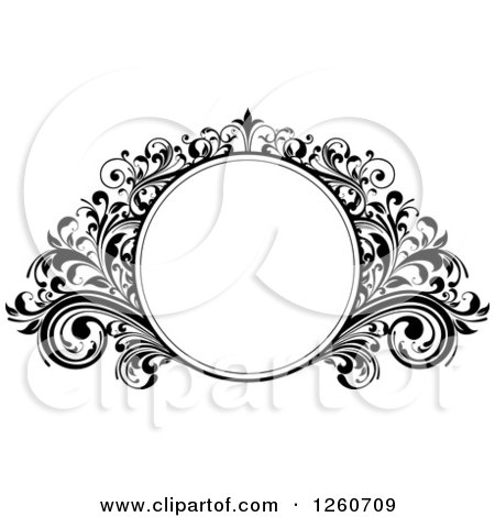 Clipart Of A Black And White Ornate Round Frame With Flourishes Royalty Free Vector Illustration