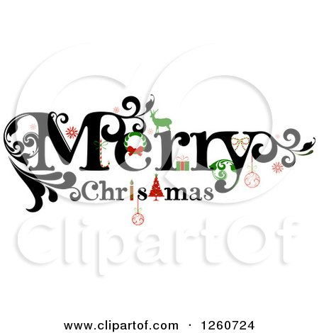 Clipart of a Merry Christmas Greeting - Royalty Free Vector Illustration by OnFocusMedia