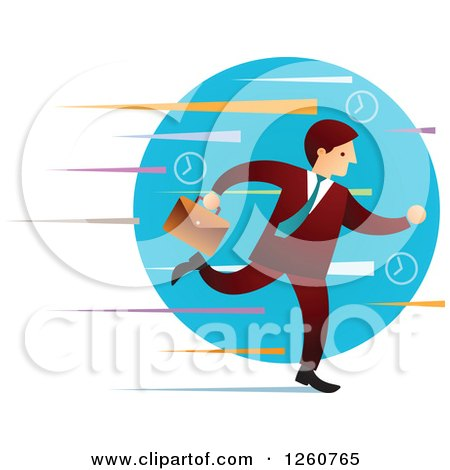 Clipart of a Caucasian Businessman Running over a Blue Circle and Colorful Streaks - Royalty Free Vector Illustration by Qiun
