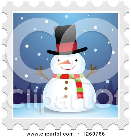 Clipart of a Christmas Snowman Stamp Design - Royalty Free Vector Illustration by Qiun