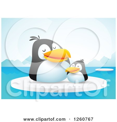 Clipart of a Cute Penguin Chick and Mother on Floating Ice - Royalty Free Vector Illustration by Qiun