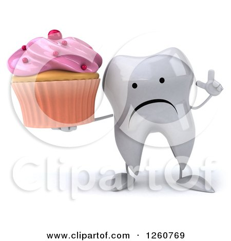 Clipart Of A 3d Sad Tooth Character Holding Up A Finger And A