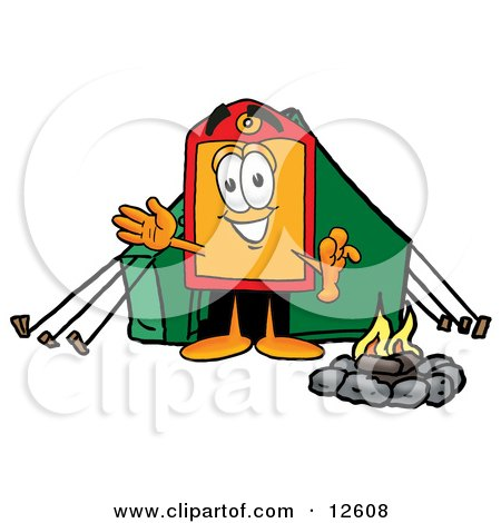 Price Tag Mascot Cartoon Character Camping With a Tent and Fire Posters, Art Prints