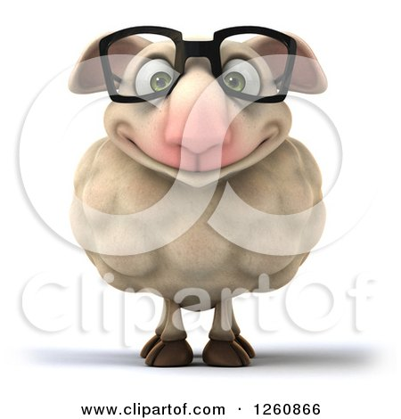 Clipart of a 3d Happy Bespectacled Sheep - Royalty Free Illustration by Julos
