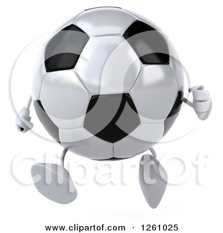 Clipart of a 3d Soccer Ball Character Running - Royalty Free Illustration by Julos