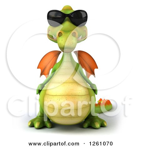 Clipart of a 3d Green Dragon Wearing Sunglasses - Royalty Free Illustration by Julos