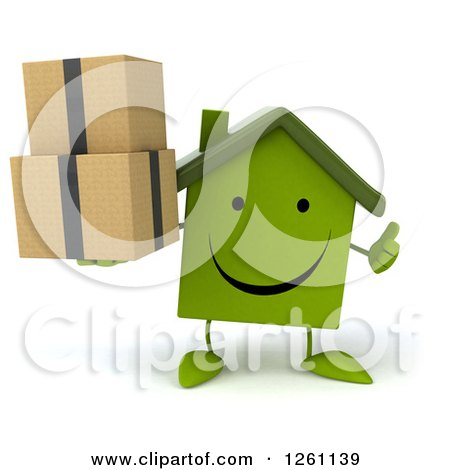 Clipart of a 3d Happy Green House Character Holding Boxes and a Thumb up - Royalty Free Illustration by Julos