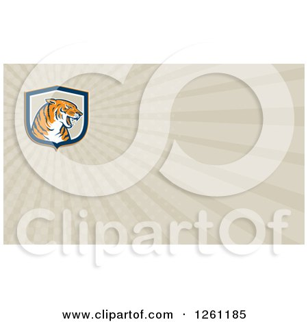 Clipart of a Tiger Background or Business Card Design - Royalty Free Illustration by patrimonio