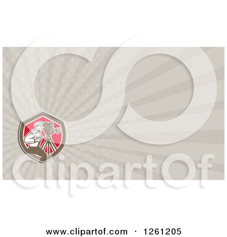 Clipart of a Retro Filming Camera Man Business Card Design - Royalty Free Illustration by patrimonio