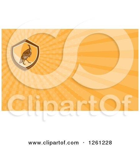 Clipart of a Retro Turkey Bird Business Card Design - Royalty Free Illustration by patrimonio