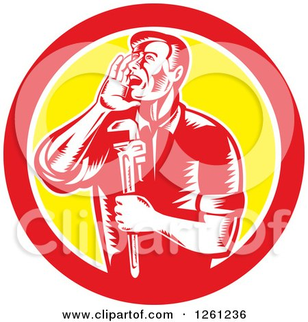 Clipart of a Retro Woodcut Plumber Hollering and Holding a Monkey Wrench in a Red White and Yellow Circle - Royalty Free Vector Illustration by patrimonio