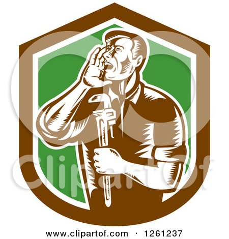 Clipart of a Retro Woodcut Plumber Hollering and Holding a Monkey Wrench in a Brown White and Green Shield - Royalty Free Vector Illustration by patrimonio