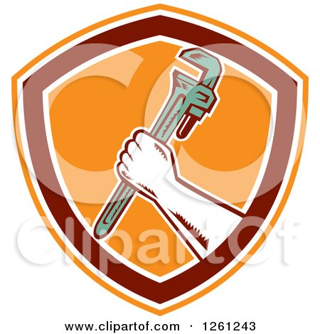 Clipart of a Retro Woodcut Plumber Hand Holding a Monkey Wrench in an Orange Maroon and White Shield - Royalty Free Vector Illustration by patrimonio