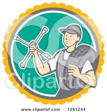 Clipart of a Retro Male Mechanic Holding a Socket Wrench and a Tire in a Circle - Royalty Free Vector Illustration by patrimonio