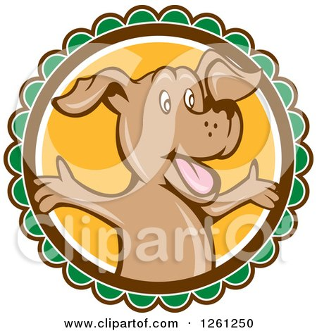 Clipart of a Happy Cartoon Brown Dog with Open Arms on a Round Label - Royalty Free Vector Illustration by patrimonio
